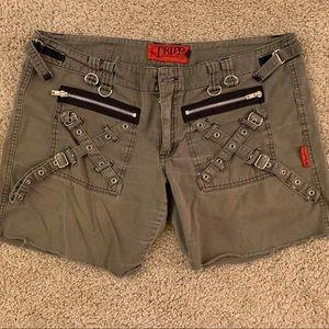 TRIPP kaki goth/grunge shorts w/zippers & …